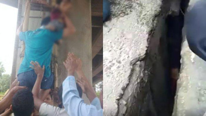 Viral Video Balita Terjebak di Celah Jembatan, Jatuh saat Dibonceng Ibu, Warga Berusaha Selamatkan