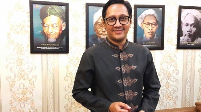 Andre Taulany setelah menemui Ketua Pengurus Besar Nahdlatul Ulama (PBNU) KH Said Aqil Siraq di Kantor PBNU, Jalan Kramat Raya, Senen, Jakarta Pusat, Rabu (8/5/2019) sore.