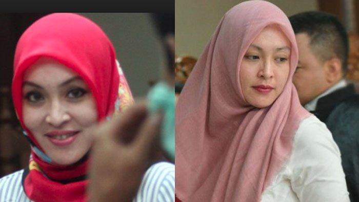Kolase Foto Angelina Sondakh yang kini mengenakan hijab di Lapas Pondok Bambu.