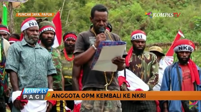 Belasan anggota Organisasi Papua Merdeka (OPM) dan ratusan simpatisan anggota separatis kelompok Goliat Tabuni mengucapkan ikrar kembali ke pangkuan NKRI. Deklarasi dilakukan Sabtu (1/7/2017) siang di Distrik Tingginambut, Puncak Jaya, Papua, dan dihadiri di antaranya oleh Bupati Puncak Jaya, Henok Ibo dan Danrem 173/Praja Vira Braja (PVB) Kodam XVII/Cenderawasih, Brigjen TNI I Nyoman Cantiasa.