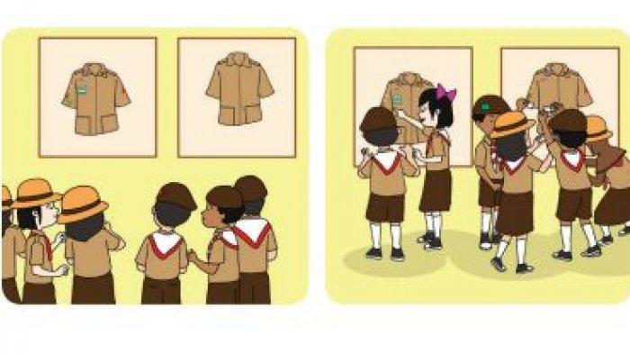 Anggota pramuka belajar memakai perlengkapan, Buku Tematik kelas 3 SD tema 8.