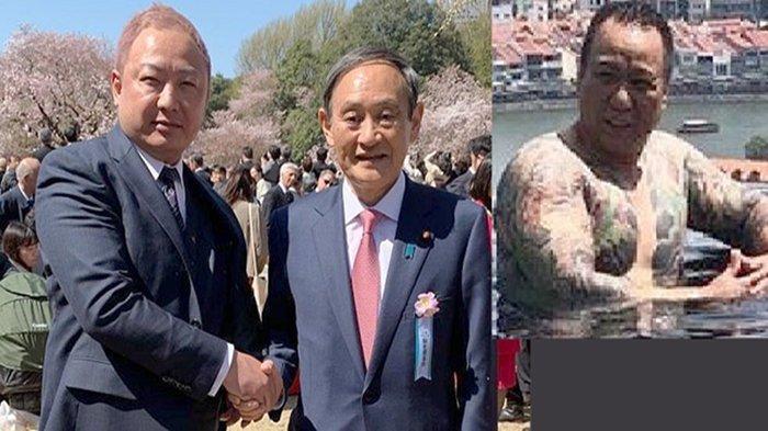 Yakuza Jepang (kiri) dan Sekretaris Kabinet Yoshihide Suga (kanan) di pesta bunga Sakura April 2019.