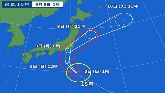 Arah angin taifun diperkirakan yang akan menghampiri Tokyo dan Nagoya.