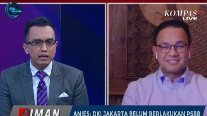 Gubernur DKI Jakarta, Anies Baswedan (kanan), dan Pembawa Acara, Aiman Witjaksono (kiri) dalam program AIMAN, Kompas TV pada Senin (6/4/2020)