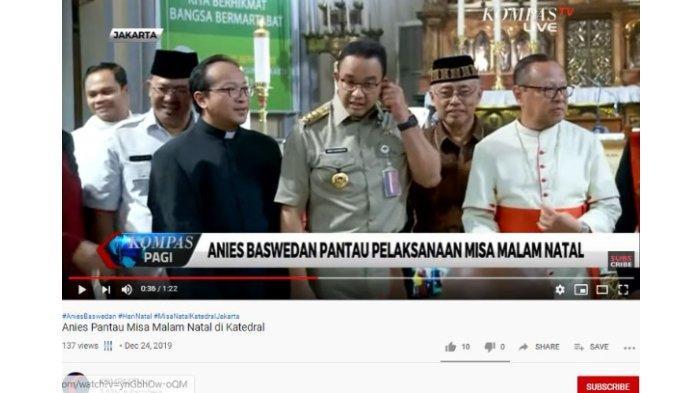 Gubernur DKI Jakarta Anies Baswedan mengunjungi Gereja Katedral Jakarta dalam rangka Natal, Selasa (24/10/2019).