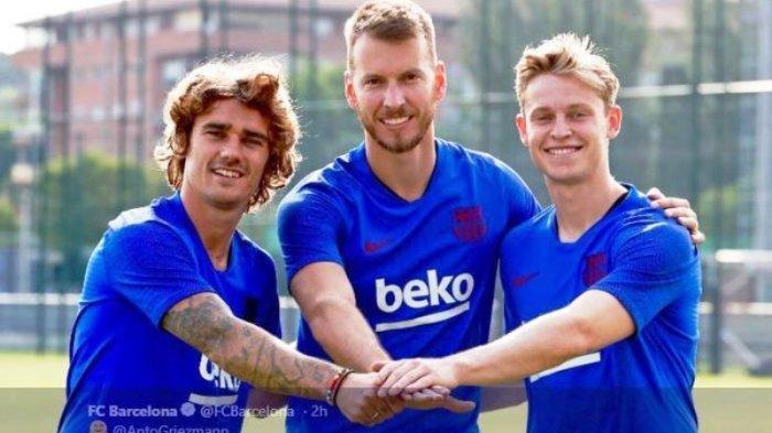 Antoine Griezmann, Neto Murara, dan Frenkie de Jong, tiga rekrutan baru Barcelona.