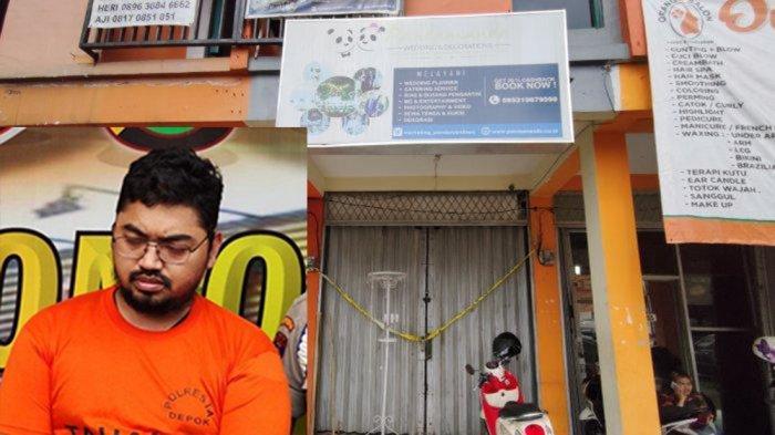 Kantor wedding organizer Pandamanda di Jalan Pramuka Raya Nomor III, Pancoran Mas, Kota Depok, Jumat (7/2/2020). (Inset) Anwar Said, pemilik WO Pandamanda yang sudah ditahan dan ditetapkan sebagai tersangka kasus penipuan puluhan calon pengantin kliennya.
