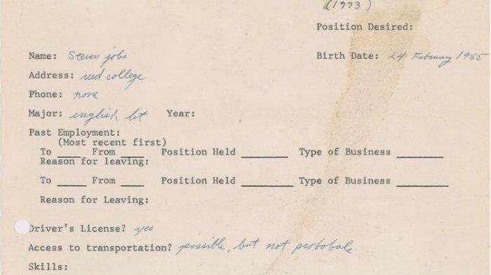 Surat Lamaran Steve Jobs saat Menganggur Dilelang Mulai Rp 6,8 Miliar