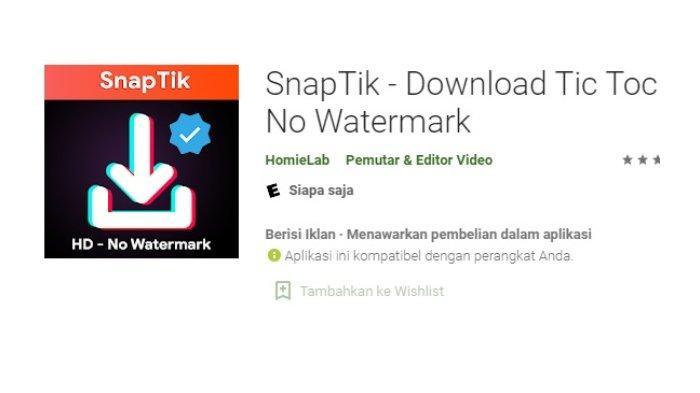 Aplikasi SnapTik.