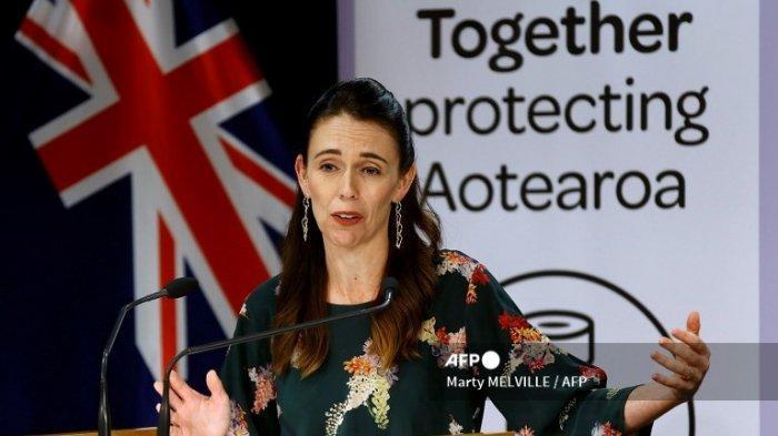 Perdana Menteri Selandia Baru Jacinda Ardern berbicara selama konferensi pers tentang pembatasan virus corona Covid-19, di Wellington pada 5 Maret 2021.