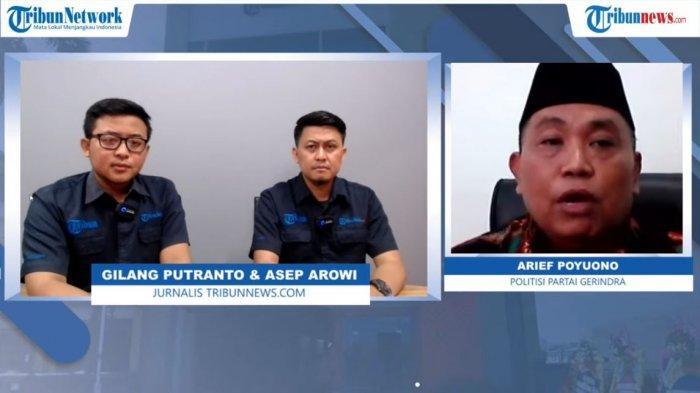 Politisi Partai Gerindra, Arief Poyuono, dalam program diskusi Overview Tribunnews.com, Kamis (25/3/2021)
