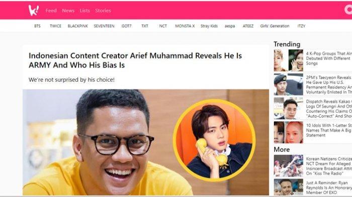 Akui Fans Jin BTS, Youtuber Arief Muhammad Kaget Namanya Masuk Media Korea Selatan