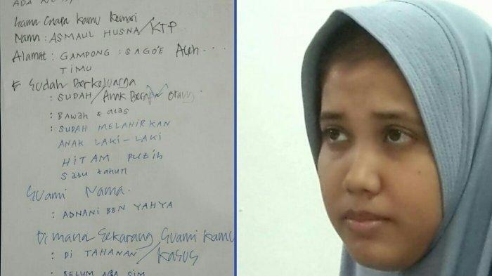 Wanita muda yang diamankan security Masjid Raya Baiturrahman Banda Aceh, Kamis (29/8/2019) malam dan lembar kertas berisi jawaban komunikasi secara tertulis.