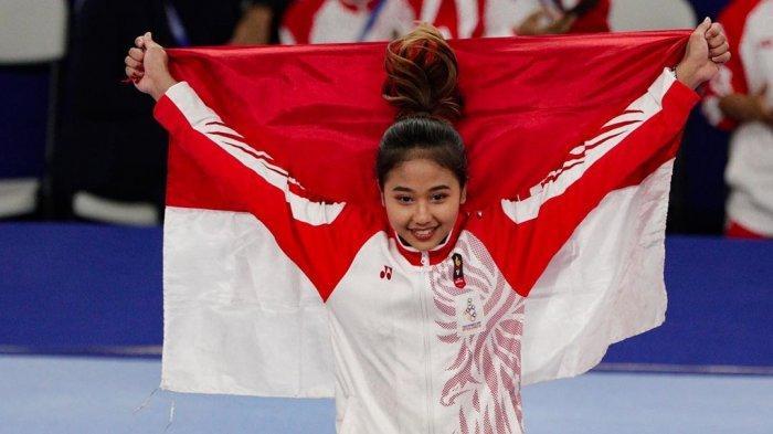 Atlet senam Indonesia Rifda Irfanaluthfi, penyumbang emas ke-12 bagi Indonesia di SEA Games 2019.
