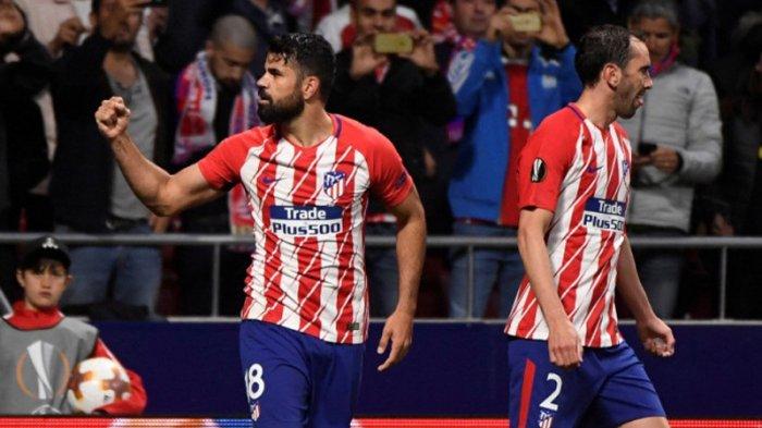 Penyerang Atletico Madrid, Diego Costa (kiri)