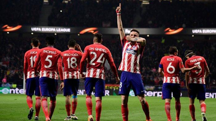 Pemain Atletico Madrid, Saul Niguez merayakan golnya ke gawang Lokomotiv Moskwa pada laga leg pertama babak 16 besar Liga Europa di Stadion Wanda Metropolitano, Madrid, Spanyol, Jumat (9/3/2018) dini hari WIB.