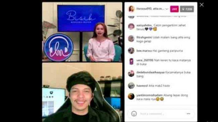 Atta Halilintar dan Rossa saat siaran langsung Instagram di @langitmusik Selasa, (23/2/2021).