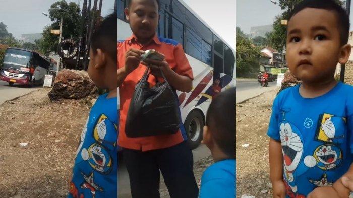 Ayah Kerja Jadi Kernet Bus, Bocah Ini Sering Menunggu di Pinggir Jalan untuk Bertemu, Videonya Viral