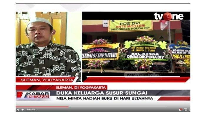 Ayah korban tewas susur sungai SMPN 1 Turi, Muhammad Dedy Sukmana dalam tayangan YouTube tvOneNews, Sabtu (22/2/2020).