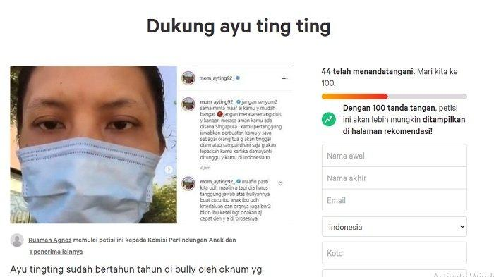 Tangkapan layar petisi dukungan untuk Ayu Ting Ting di Change.org.