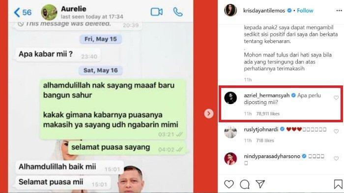 Azriel Hermansyah berkomentar di unggahan Krisdayanti yang bagikan percakapan dengan Aurel Hermansyah.