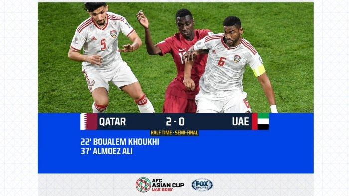 Babak Pertama Qatar Vs Uni Emirat Arab Semifinal Piala Asia AFC 2019, Skor Sementara 2-0