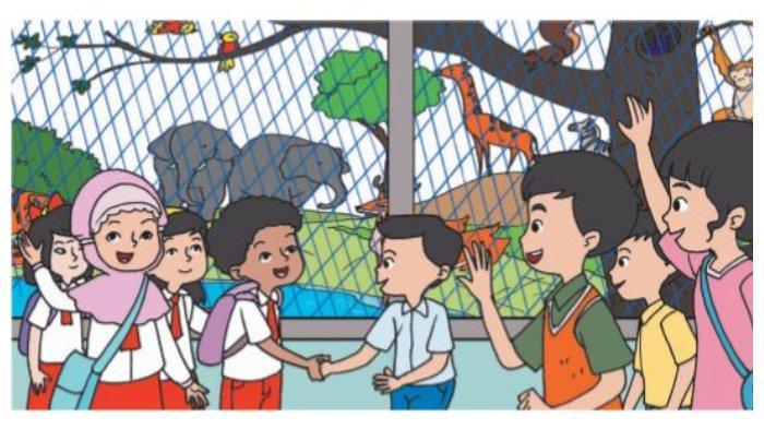 Bacaan Menyapa Pengunjung di Buku Tematik Tema 7 Kelas 2 SD.