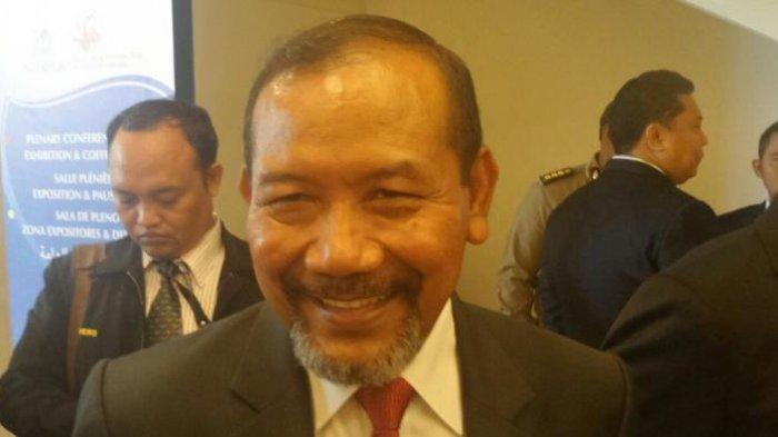Mantan Kapolri Jenderal (Purn) Badrodin Haiti saat ditemui di sela sidang umum Interpol di Bali Nusa Dua Convention Center (BNDCC), Senin (7/11/2016).