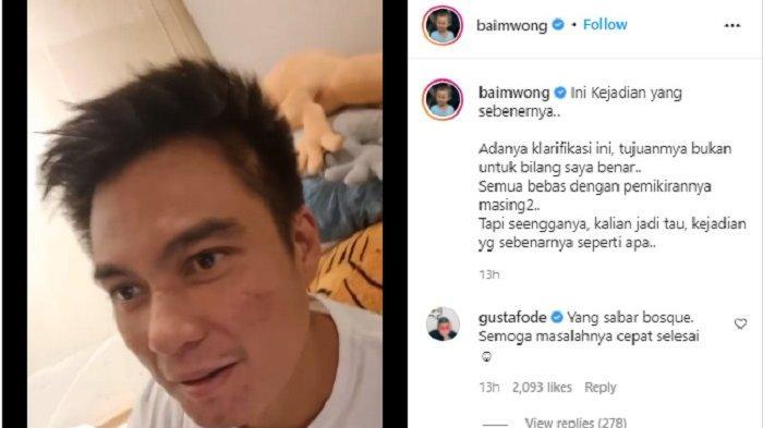 Baim Wong ungkap kronologi kejadian saat seorang kakek meminta uang padanya (Instagram @baimwong)