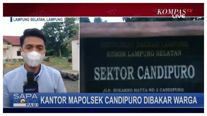 Diduga Lamban Tangani Kasus Pembegalan, Massa Nekat Bakar Mapolsek Candipuro, Lampung Selatan