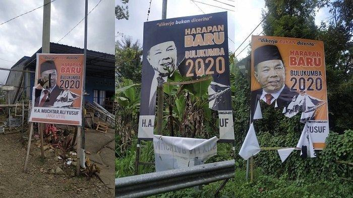 Baliho bakal calon bupati Bulukumba Andi Muchtar Ali Yusuf, yang terpasang di Lingkungan Ballasaraja, Kelurahan Ballasaraja, Kecamatan Bulukumpa dirusak OTK.