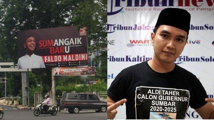 Baliho Faldo Maldini di Jl Jend Sudirman tepatnya di depan Kantor Dinas Pendidikan Sumbar - Aldi Taher, menyatakan maju jadi calon gubernur Sumbar.