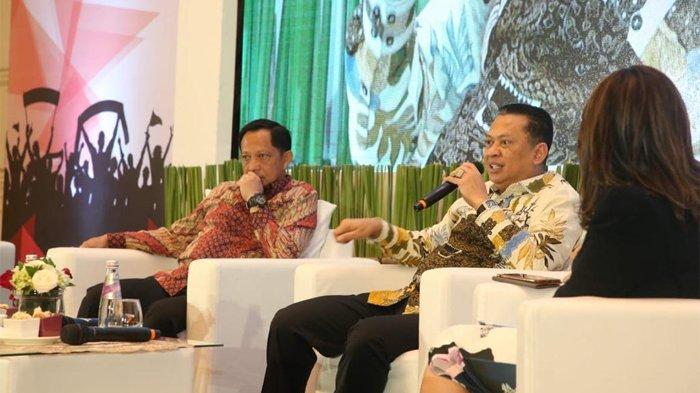 Ketua MPR RI Bambang Soesatyo saat menghadiri Seminar Nasional Sespimti Polri Dikreg ke-28, 'Pembangunan SDM Unggul dan Pancasilais guna Menyongsong Indonesia Emas 2045', di Jakarta, Jumat (8/11/2019).