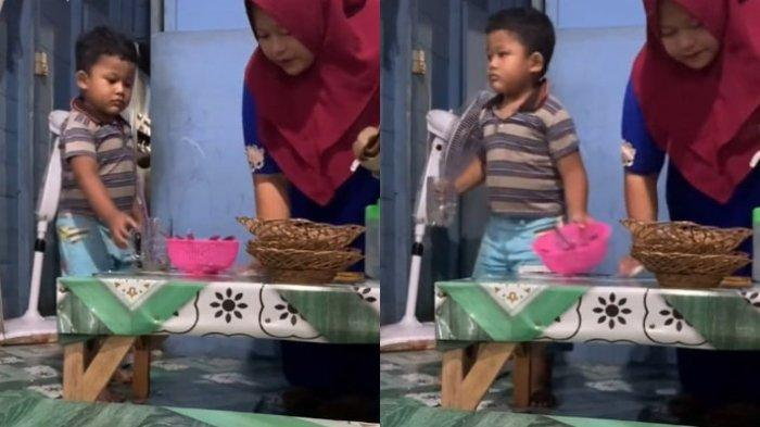 VIRAL Video Bocah di Kalteng Berusaha Bantu Ibu saat Jualan, Perekam Ungkap Cerita di Baliknya