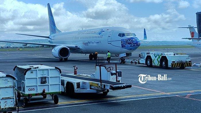 Suasana airside Bandara Internasional I Gusti Ngurah Rai Bali, Kamis (12/3/2021).