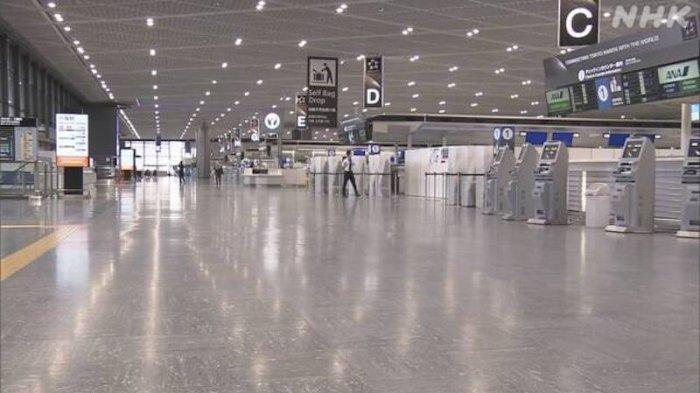 Bandara Narita kosong hari ini sangat sedikit sekali penumpang
