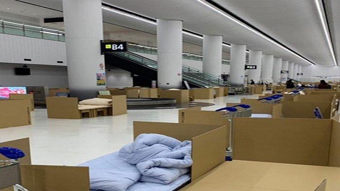 Foto-foto kardus di Bandara Narita sebagai tempat karantina sementara dari para penumpang pesawat yang tiba dari luar negeri.