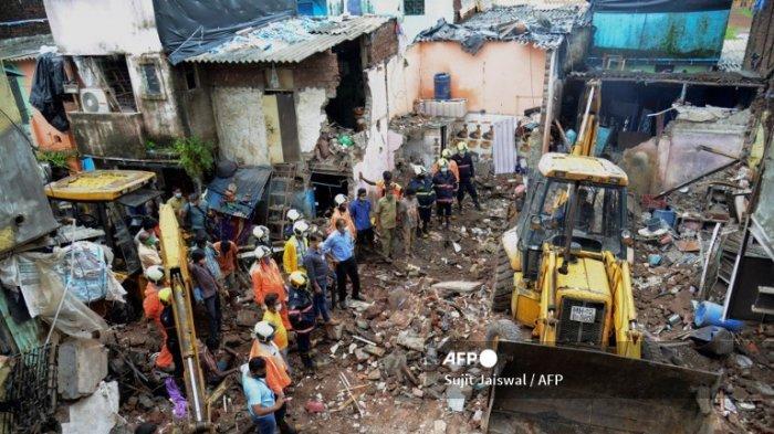 Gedung di Mumbai India Ambruk Diduga akibat Hujan Lebat, Setidaknya 11 Orang Tewas