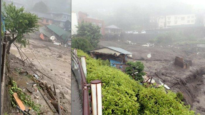 Banjir di Kota Atami Jepang, Rumah dan Mobil Hanyut Terbawa Tanah Longsor