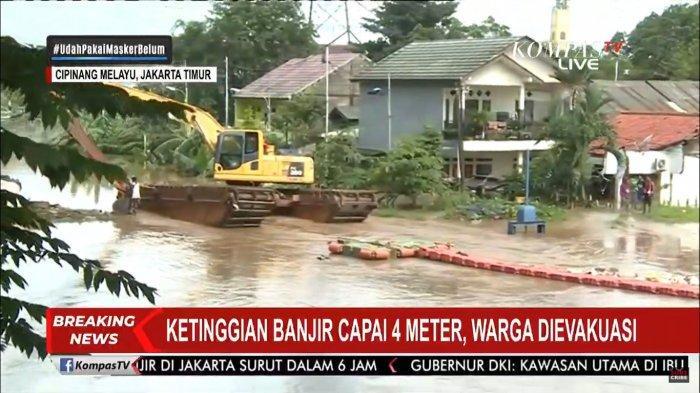 Ketinggian Banjir Capai 4 Meter, Tim Gabungan Sulit Evakuasi Warga Cipinang Melayu karena Arus Deras