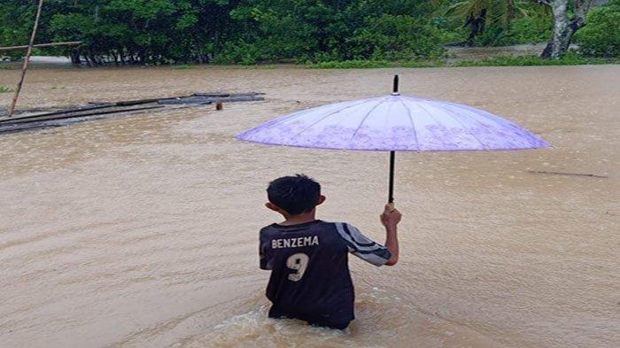 Banjir menggenangi wilayah Desa Dusun Besar, Kecamatan Pulau Maya, Kabupaten Kayong Utara, Provinsi Kalimantan Barat. Rabu 14 Juli 2021.
