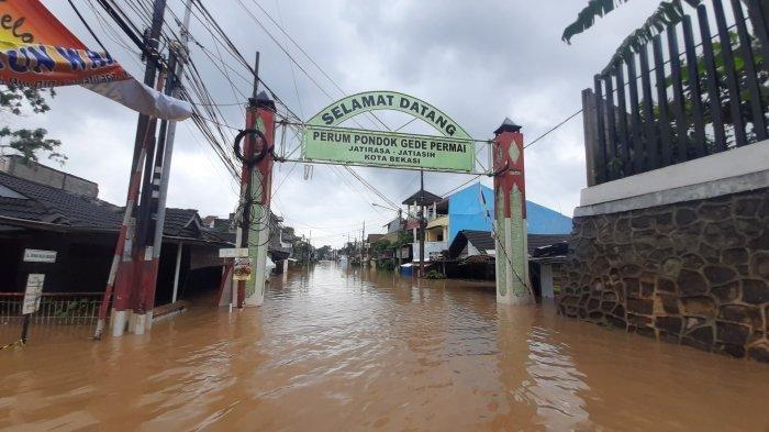 Banjir di Perumahan PGP Jatiasih Kota Bekasi, Sabtu (20/2/2021).