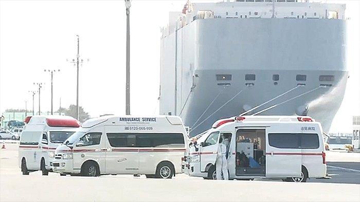 Kegiatan bantuan kelompok medis di luar kapal Diamond Princess berusaha memasukkan obat-obatan dan berbagai hal ke dalam kapal.