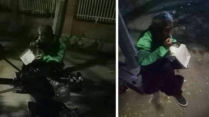 VIRAL Foto driver Ojek Online Sahur di Pinggir Jalan, Banjir Doa dari Netizen