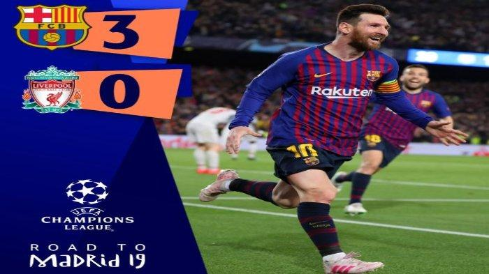 Berikut link live score hasil akhir Liga Champions antara Barcelona vs Liverpool, Kamis (2/5/2019), pukul 02.00 WIB, diadakan di Stadion Camp Nou.