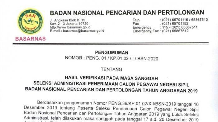 Daftar Peserta CPNS Basarnas 2019 yang Lolos Tahap Sanggah, Cek Namamu di Sini!
