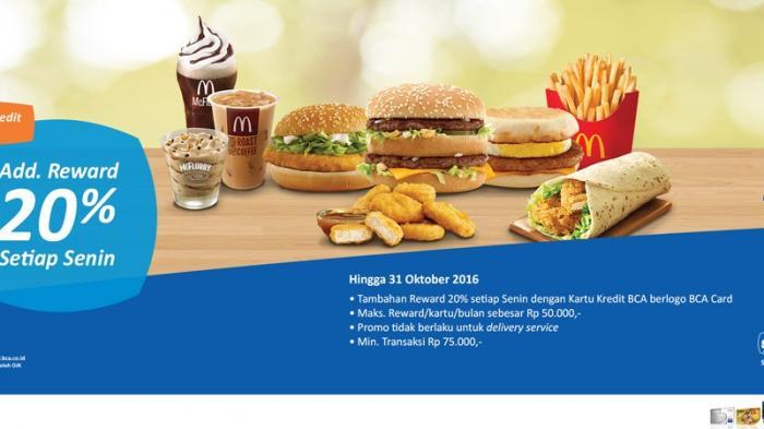 Dapatkan Add Reward BCA 20% setiap Senin di McDonald's