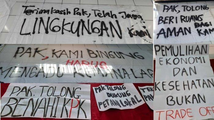 Beberapa poster kritik yang dibuat oleh mahasiswa UNS untuk menyambut kedatangan Presiden Jokowi, Senin (13/9/2021)