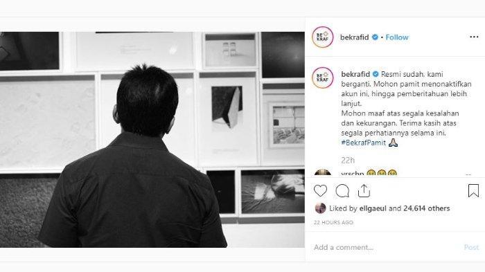 Bekraf Pamit Melalui Instagram dan Twitter, Warganet Ramai-ramai Ucapkan Terima Kasih