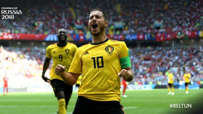 Kapten Timnas Belgia, Eden Hazard merayakan golnya ke gawang Timnas Tunisia dalam laga penyisihan Grup G Piala Dunia 2018 di Stadion Spartak, Moskow, Rusia, Sabtu (23/6/2018) malam WIB.